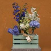 Caja botellas flores variadas