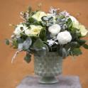 Copa Cerámica Verde con Flores Variadas