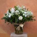 """Jarrón de cristal flores variadas """"Blanco y verde"""""""